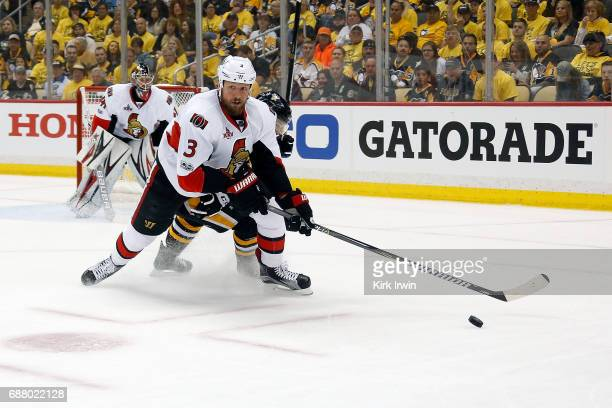 Marc Methot of the Ottawa Senators controls the puck in Game Five of the Eastern Conference Final during the 2017 NHL Stanley Cup Playoffs against...