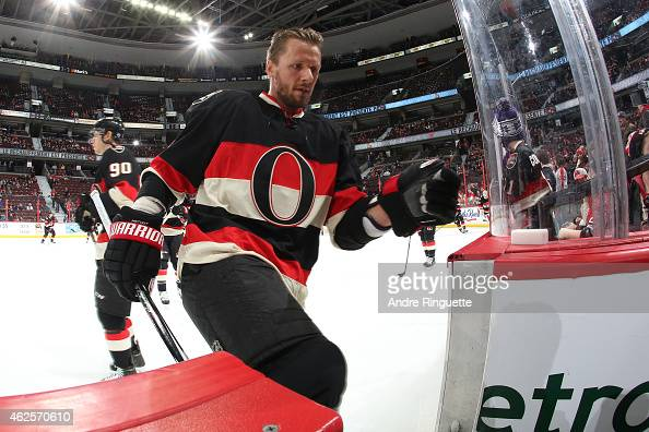 Marc Methot of the Ottawa Senators leaves the ice after warmup prior to a game against the Dallas Stars at Canadian Tire Centre on January 29 2015 in...