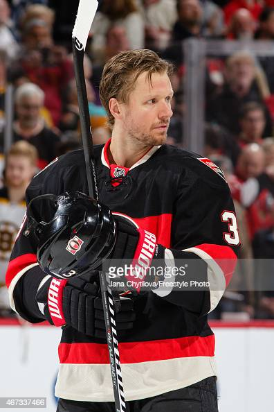 Marc Methot of the Ottawa Senators looks on during the singing of the national anthems prior to an NHL game against the Ottawa Senators at Canadian...