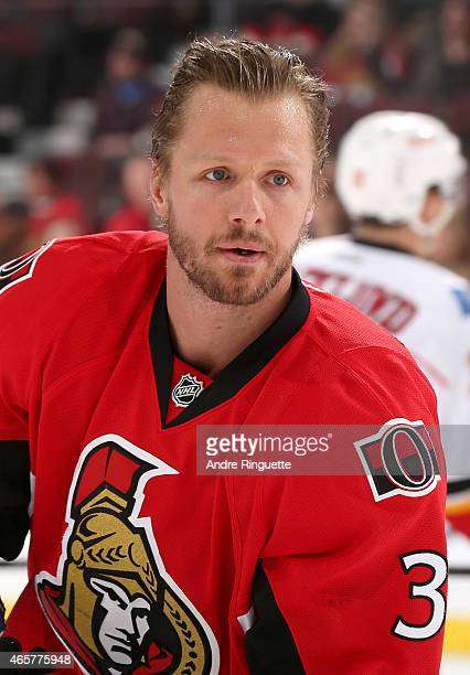 Marc Methot of the Ottawa Senators looks on during warmup prior to a game against the Calgary Flames at Canadian Tire Centre on March 8 2015 in...