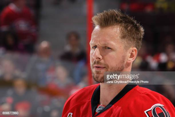 Marc Methot of the Ottawa Senators looks on during warmups prior to a game against the Montreal Canadiens at Canadian Tire Centre on March 18 2017 in...