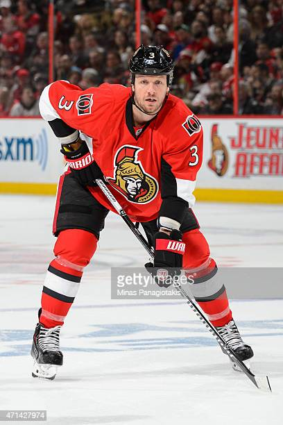 Marc Methot of the Ottawa Senators looks on prior to a faceoff in Game Six of the Eastern Conference Quarterfinals against the Montreal Canadiens...