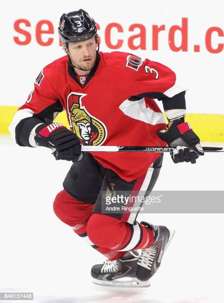 Marc Methot of the Ottawa Senators plays in the game against the Toronto Maple Leafs at Canadian Tire Centre on March 21 2015 in Ottawa Ontario Canada