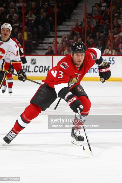 Marc Methot of the Ottawa Senators skates against the Calgary Flames at Canadian Tire Centre on March 30 2014 in Ottawa Ontario Canada