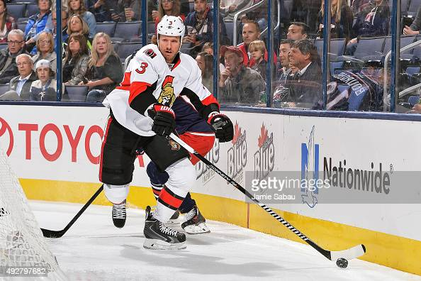 Marc Methot of the Ottawa Senators skates against the Columbus Blue Jackets on October 14 2015 at Nationwide Arena in Columbus Ohio