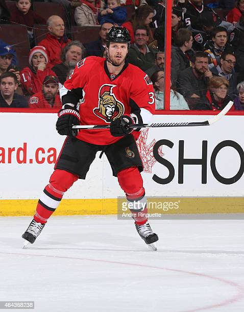 Marc Methot of the Ottawa Senators skates against the Florida Panthers at Canadian Tire Centre on February 21 2015 in Ottawa Ontario Canada