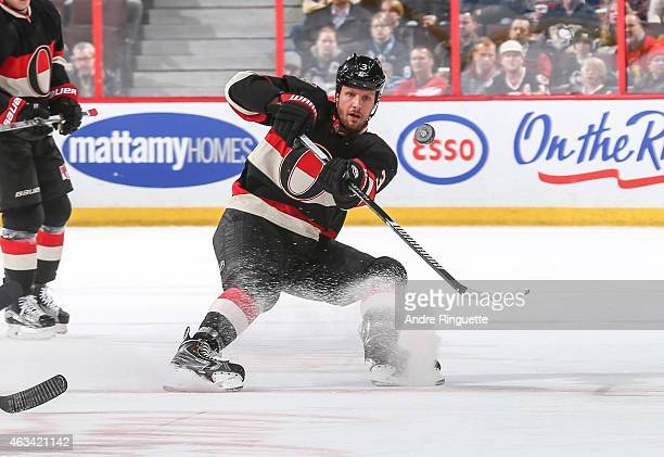 Marc Methot of the Ottawa Senators skates against the Pittsburgh Penguins at Canadian Tire Centre on February 12 2015 in Ottawa Ontario Canada