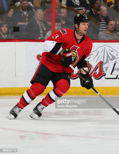 Marc Methot of the Ottawa Senators skates against the Pittsburgh Penguins at Canadian Tire Centre on April 7 2015 in Ottawa Ontario Canada