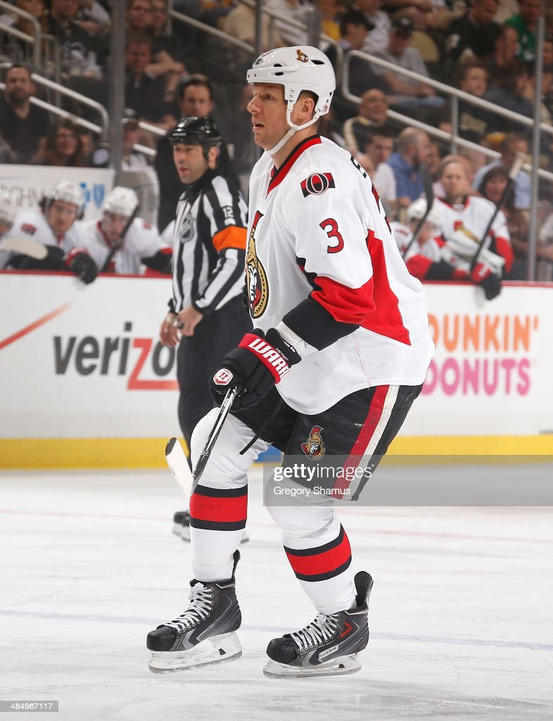 Marc Methot #3 of the Ottawa Senators skates against the Pittsburgh Penguins on April 13, 2014 at Consol Energy Center in Pittsburgh, Pennsylvania.