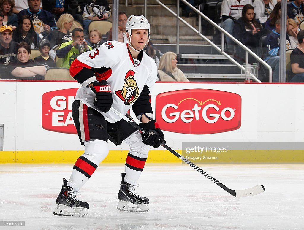 <a gi-track='captionPersonalityLinkClicked' href=/galleries/search?phrase=Marc+Methot&family=editorial&specificpeople=2216900 ng-click='$event.stopPropagation()'>Marc Methot</a> #3 of the Ottawa Senators skates against the Pittsburgh Penguins on April 13, 2014 at Consol Energy Center in Pittsburgh, Pennsylvania.