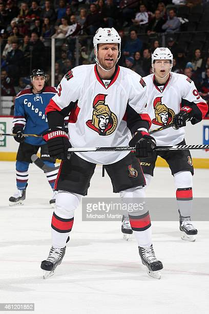Marc Methot of the Ottawa Senators skates in his 400th career game against the Colorado Avalanche at the Pepsi Center on January 8 2015 in Denver...