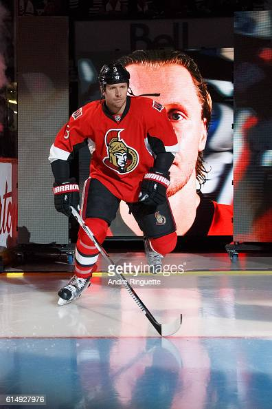 Marc Methot of the Ottawa Senators steps onto the ice during player introductions prior to a game against the Toronto Maple Leafs at Canadian Tire...