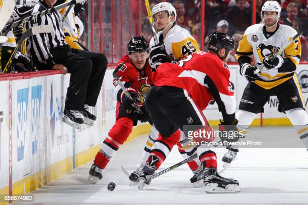 Marc Methot''and Tommy Wingels of the Ottawa Senators defend against Josh Archibald of the Pittsburgh Penguins in Game Four of the Eastern Conference...