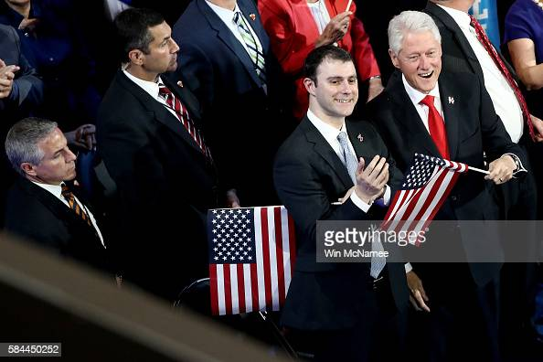 Marc Mezvinsky and former US President Bill Clinton attend the fourth day of the Democratic National Convention at the Wells Fargo Center July 28...