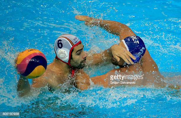 Marc Minguell of Spain in action against Mark Meli of Malta during Men's eight final match between Spain and Malta at the Waterpolo European...