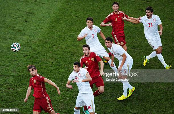 Marc Muniesa of Spain jumps during the UEFA European Under21 Championship playoff second leg match between Spain and Serbia at the Carranza Stadium...