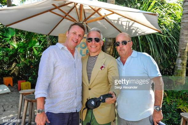 Marc Murphy Geoffrey Zakarian and Andrew Zimmern attend SiriusXM's Food Talk with Geoffrey Zakarian at Miami Beach EDITION on February 24 2017 in...