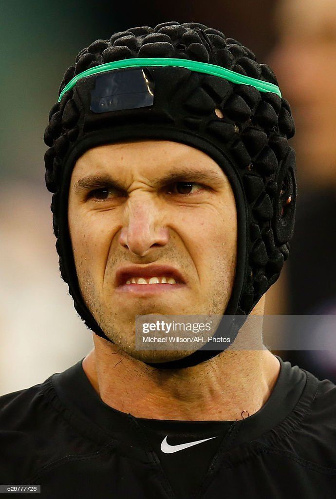 Marc Murphy of the Blues looks on during the 2016 AFL Round 06 match between the Carlton Blues and the Essendon Bombers at the Melbourne Cricket Ground, Melbourne on May 1, 2016.
