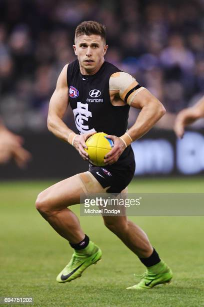 Marc Murphy of the Blues looks upfield during the round 12 AFL match between the Carlton Blues and the Greater Western Sydney Giants at Etihad...