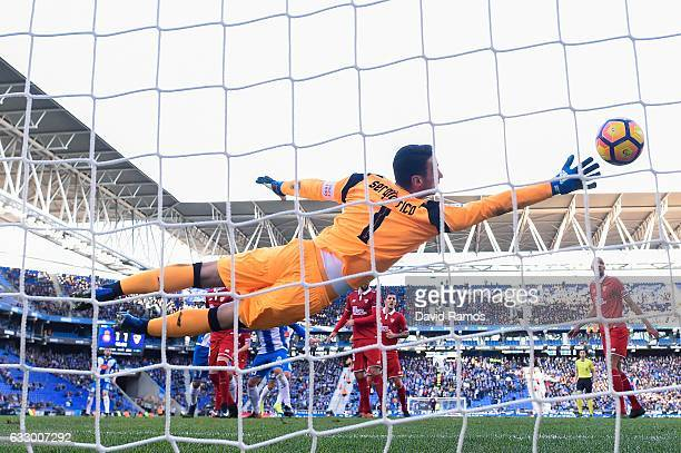 Marc Navarro of RCD Espanyol scores his team's second goal during the La Liga match between RCD Espanyol and Sevilla FC at CornellaEl Prat stadium on...