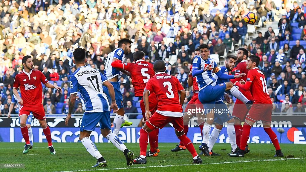 Marc Navarro of RCD Espanyol scores his team's second goal during the La Liga match between RCD Espanyol and Sevilla FC at Cornella-El Prat stadium on January 29, 2017 in Barcelona, Spain.
