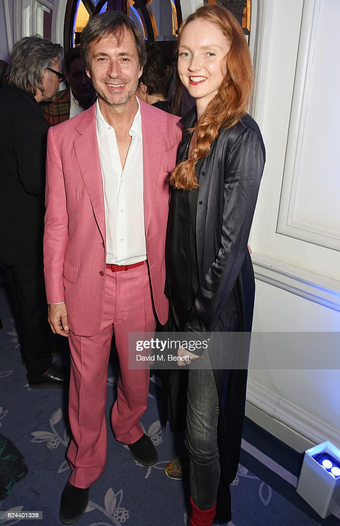 Marc Newson (L) and Lily Cole attend Claridge's Christmas Tree 2016 Party, with tree designed by Sir Jony Ive and Marc Newson, at Claridge's Hotel on November 19, 2016 in London, England.