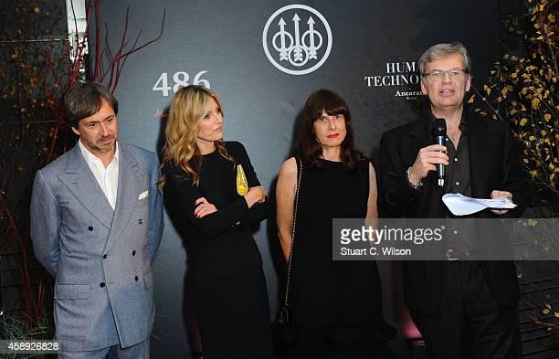 Marc Newson Umberta Gussalli Beretta Paola Manfrin and Franco Gussalli Beretta attend the Beretta launch of the '486 by Marc Newson' and the short...