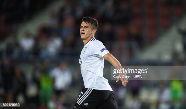Marc Oliver Kempf of Germany celebrates after scoring his side's second goal during their UEFA Under21 Championship Group C match between Germany and...