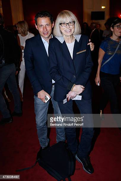 Marc Olivier Fogiel and Mireille Darc attend the 'Open Space' Theater Play at Theatre de Paris on May 11 2015 in Paris France