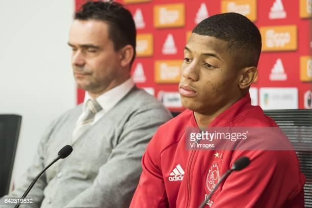 Marc Overmars of Ajax David Neres of Ajaxduring the press presentation of David Neres at the Amsterdam Arena on February 17 2017 in Amsterdam The...