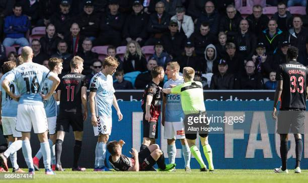 Marc Pedersen of SonderjyskE and Janus Drachmann of FC Midtjylland in action during the Danish Alka Superliga match between FC Midtjylland and...