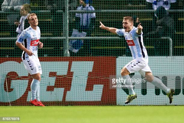 Marc Pedersen of SonderjyskE celebrate after his 20 goal during the Danish Alka Superliga match between SonderjyskE and FC Copenhagen at Sydbank Park...