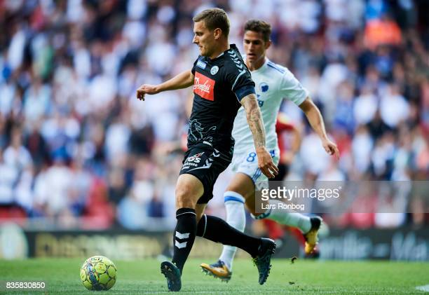 Marc Pedersen of Sonderjyske controls the ball during the Danish Alka Superliga match between FC Copenhagen and Sonderjyske at Telia Parken Stadium...