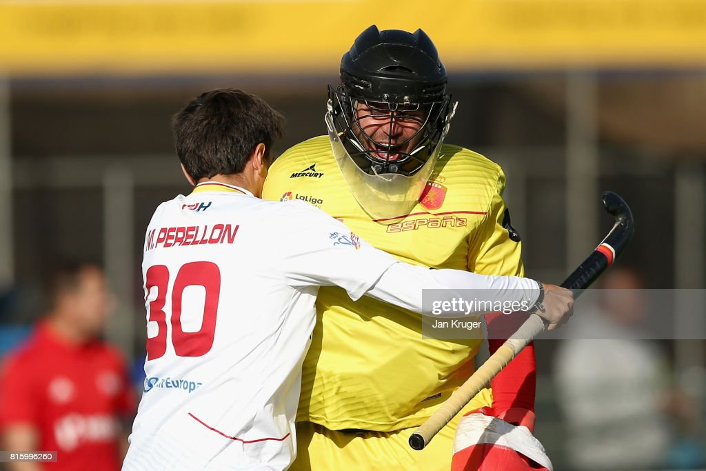 Marc Perrellon of Spain and Quico Cortes of Spain celebrate victory after the Group A match between Spain and New Zealand on day five of the FIH Hockey World League - Men's Semi Finals on July 17, 2017 in Johannesburg, South Africa.