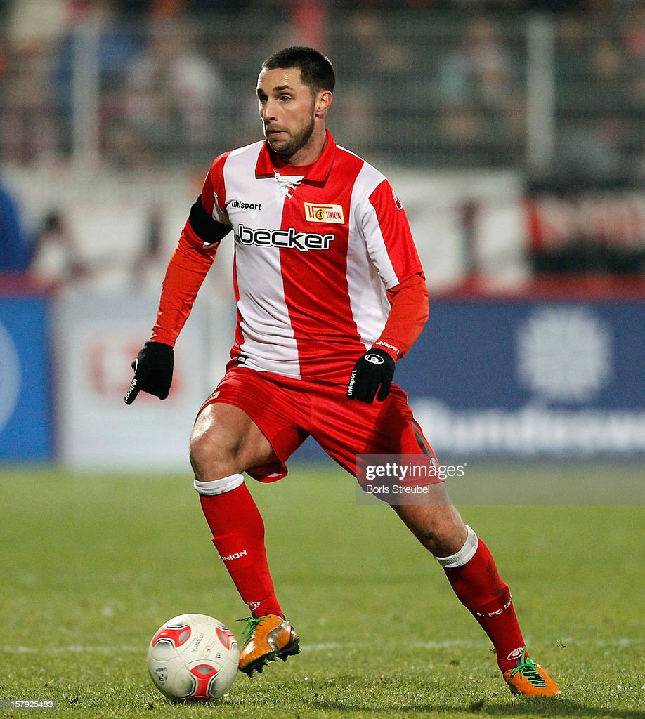 Marc Pfertzel of Berlin runs with the ball during the Second Bundesliga match between 1. FC Union Berlin and 1. FC Kaiserslautern at Stadion An der Alten Foersterei on December 7, 2012 in Berlin, Germany.