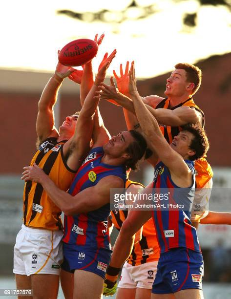 Marc Pittonet of Box Hill and Khan Haretuku of Port Melbourne compete for the ball in the air during the round seven VFL match between Port Melbourne...