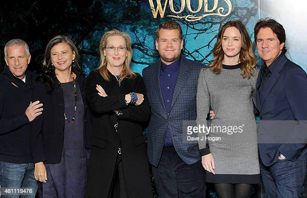 Marc Platt Tracey Ullman Meryl Streep James Corden Emily Blunt and Rob Marshall attend a photocall for 'Into The Woods' at Corinthia Hotel London on...