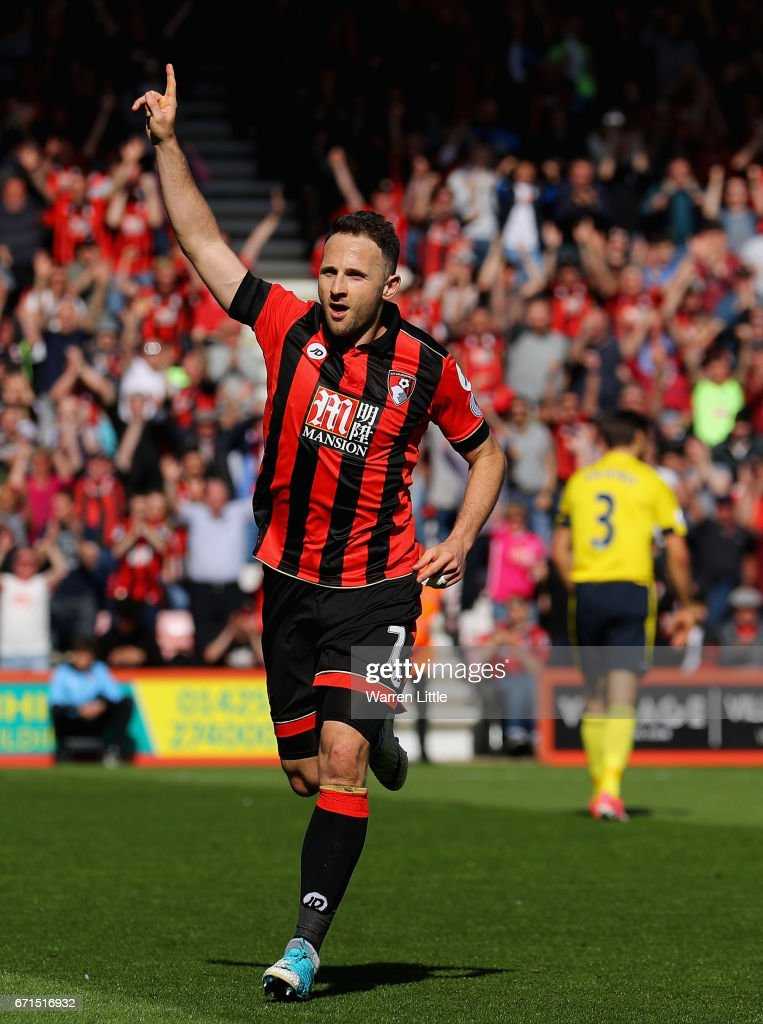Marc Pugh of AFC Bournemouth celebrates scoring his sides second goal during the Premier League match between AFC Bournemouth and Middlesbrough at the Vitality Stadium on April 22, 2017 in Bournemouth, England.