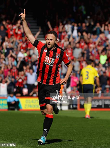 Marc Pugh of AFC Bournemouth celebrates scoring his sides second goal during the Premier League match between AFC Bournemouth and Middlesbrough at...