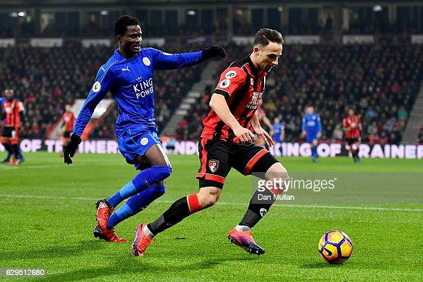 Marc Pugh of AFC Bournemouth is challenged by Daniel Amartey of Leicester City during the Premier League match between AFC Bournemouth and Leicester...