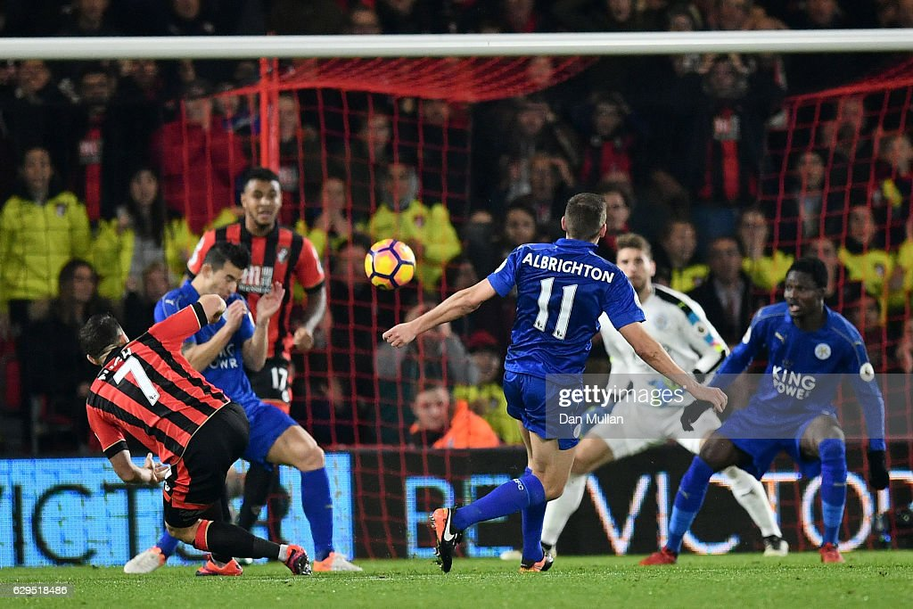 Marc Pugh #7 of AFC Bournemouth scores the opeing goal during the Premier League match between AFC Bournemouth and Leicester City at the Vitality Stadium on December 13, 2016 in Bournemouth, England.
