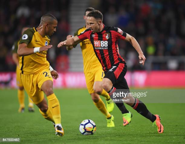 Marc Pugh of AFC Bournemouth takes on Liam Rosenior of Brighton and Hove Albion during the Premier League match between AFC Bournemouth and Brighton...