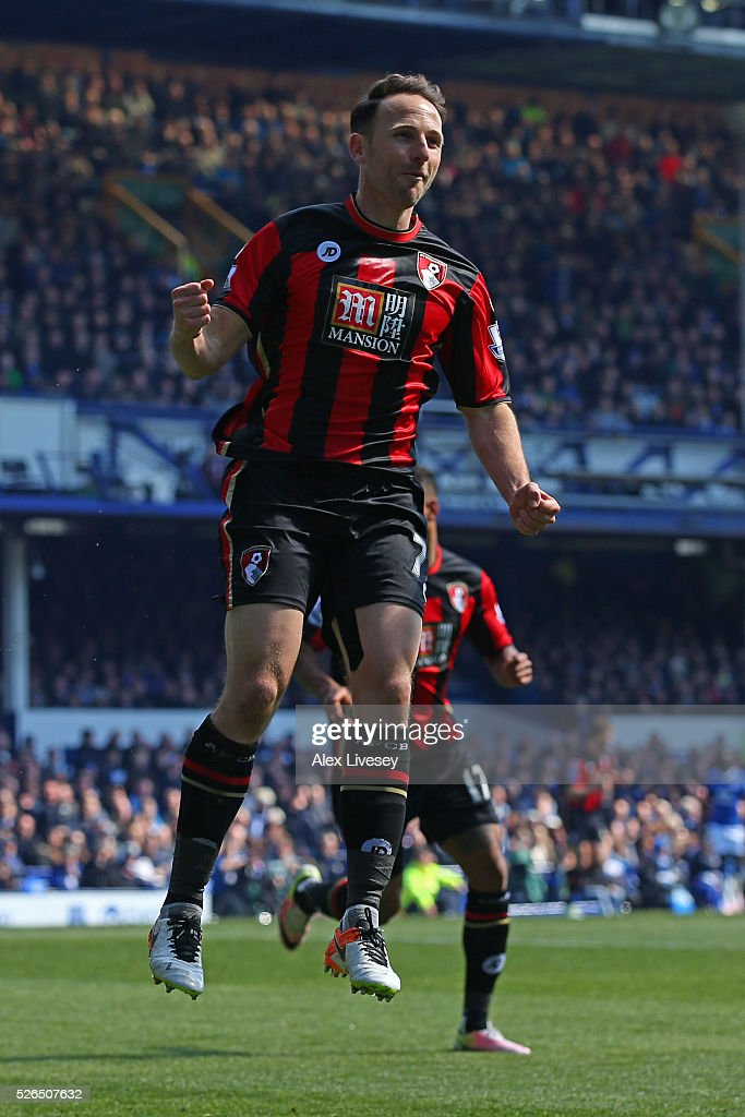 Marc Pugh of Bournemouth celebrates scoring his team's first goal during the Barclays Premier League match between Everton and A.F.C. Bournemouth at Goodison Park on April 30, 2016 in Liverpool, England.