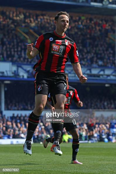 Marc Pugh of Bournemouth celebrates scoring his team's first goal during the Barclays Premier League match between Everton and AFC Bournemouth at...