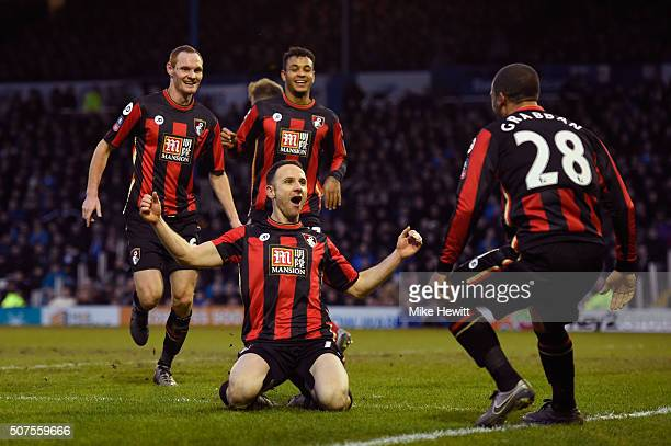 Marc Pugh of Bournemouth celebrates scoring his team's second goal with his team mates during the Emirates FA Cup Fourth Round match between...
