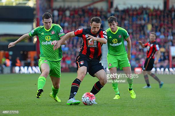 Marc Pugh of Bournemouth controls the ball during the Barclays Premier League match between AFC Bournemouth and Sunderland at Vitality Stadium on...