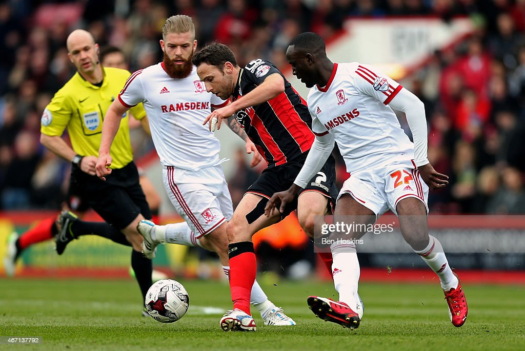 <a gi-track='captionPersonalityLinkClicked' href=/galleries/search?phrase=Marc+Pugh&family=editorial&specificpeople=5831744 ng-click='$event.stopPropagation()'>Marc Pugh</a> of Bournemouth holds off pressure from <a gi-track='captionPersonalityLinkClicked' href=/galleries/search?phrase=Adam+Clayton+-+Soccer+Player&family=editorial&specificpeople=8737072 ng-click='$event.stopPropagation()'>Adam Clayton</a> (L) and <a gi-track='captionPersonalityLinkClicked' href=/galleries/search?phrase=Kenneth+Omeruo&family=editorial&specificpeople=6392838 ng-click='$event.stopPropagation()'>Kenneth Omeruo</a> (R) of Middlesbrough during the Sky Bet Championship match between AFC Bournemouth and Middlesbrough at Goldsands Stadium on March 21, 2015 in Bournemouth, England.