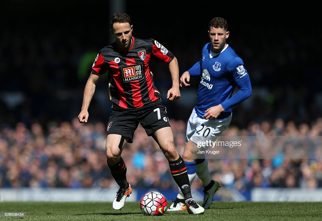 Marc Pugh of Bournemouth in action during the Barclays Premier League match between Everton and A.F.C. Bournemouth at Goodison Park on April 30, 2016 in Liverpool, England.