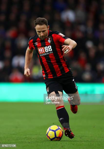 Marc Pugh of Bournemouth runs with the ball during the Premier League match between AFC Bournemouth and Huddersfield Town at Vitality Stadium on...