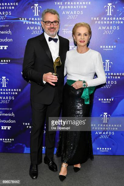 Marc Puig and Carolina Herrera pose backstage at the 2017 Fragrance Foundation Awards Presented By Hearst Magazines at Alice Tully Hall on June 14...